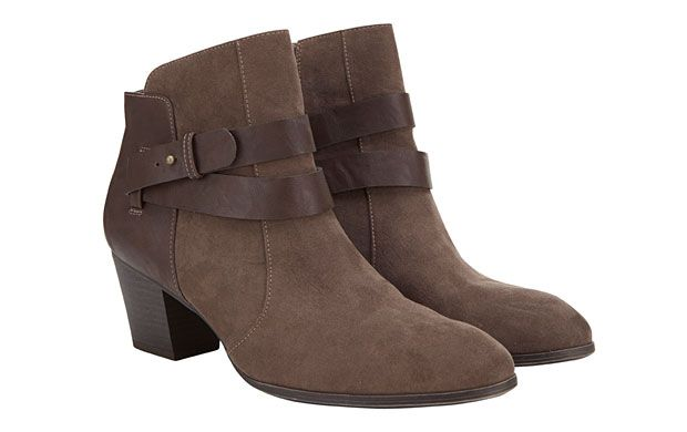 "Brown Ankle Boots. ""We love the cool wraparound straps on these trendy ankle boots."""