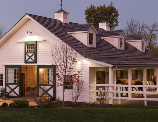 morton buildings traditional white clapboard stables and horse yard - Horse Barn Design Ideas