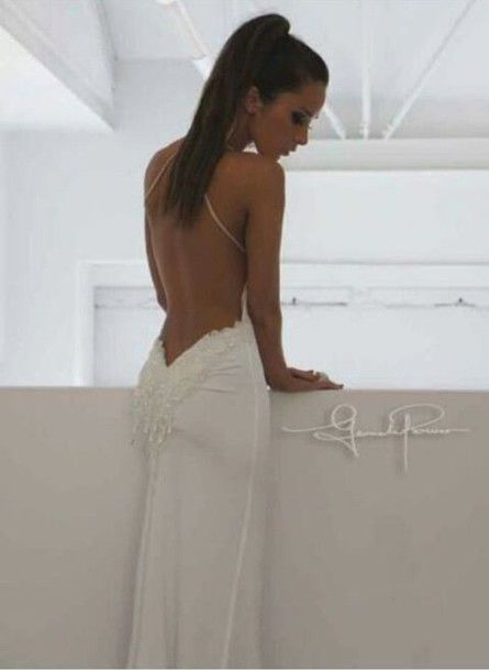 Dress: backless, white, tan, backless dress, wedding, wedding ...