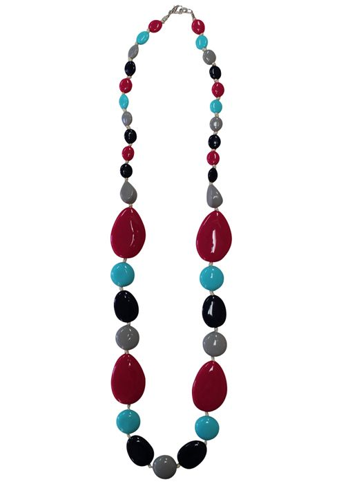 Laura Graduating Pebble Bead Necklace MULTI $29.95  Statement necklace with colourful smooth graduating pebble beads Length: 93cm Resin/rope  Item Code: 045752