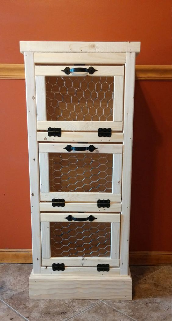 3 Door Vegetable Bin,  Handmade Wooden, Potato and Onion Bin, Rustic Country, Kitchen Pantry Organizer and Storage,  Bread Bin, Home Decor