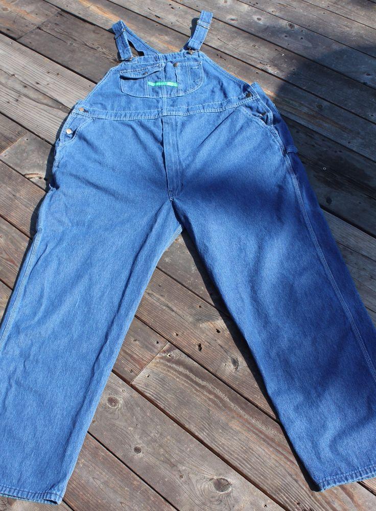 Key Imperial Carpenter Bibs Overalls Denim Blue Mens Size 50 x 32 #Key #Overalls