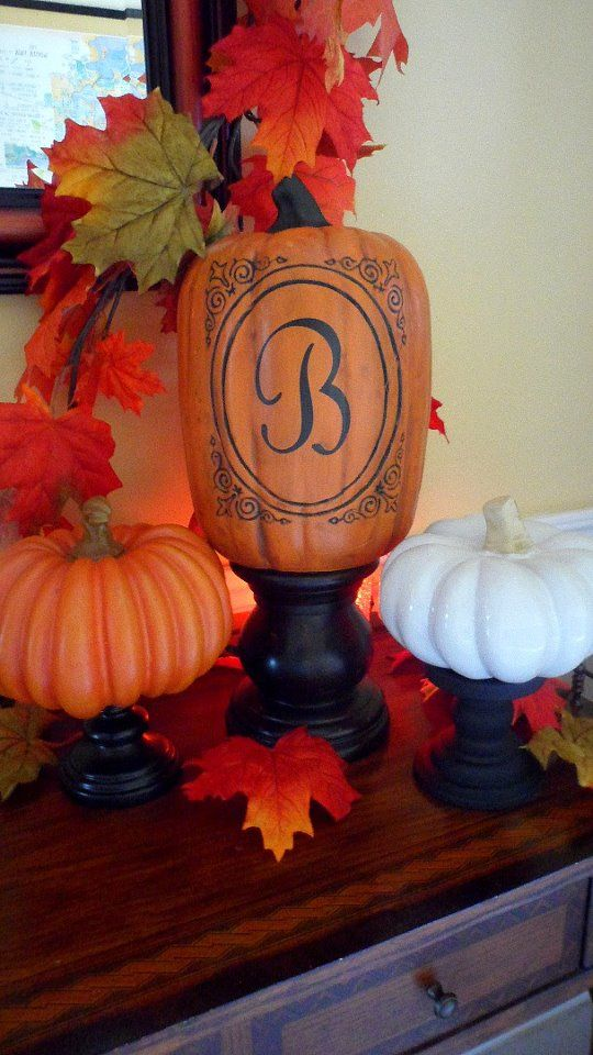black monogram on pumpkin