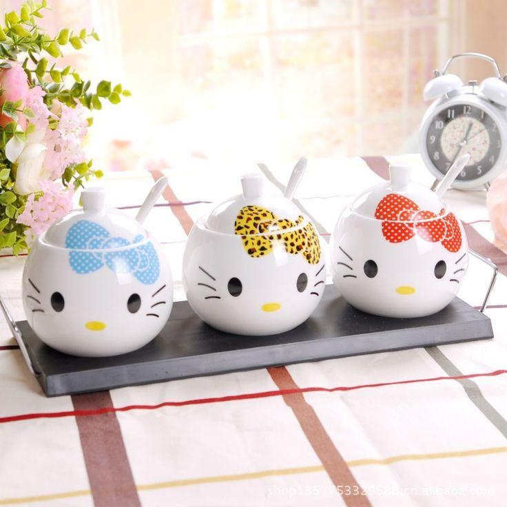 three-piece bone china hello kitty ceramic spice jar salt and pepper seasoning bottle set herb