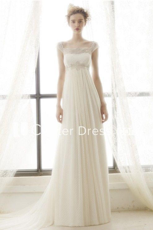 5c78f2c2339 Sheath Maxi Cap-Sleeve Pleated Empire Square-Neck Tulle Wedding Dress With  Appliques And Illusion - UCenter Dress
