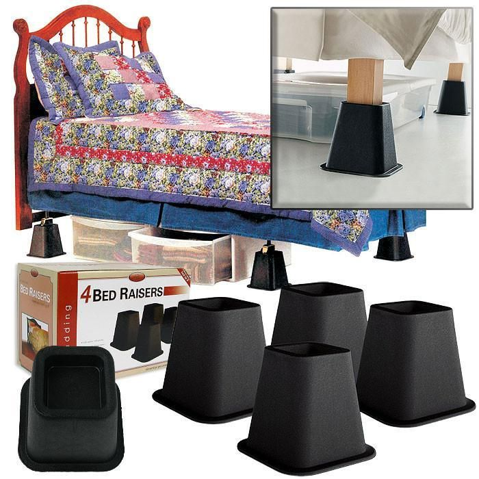 As Seen on TV - 4 Pack of Black Bed Raisers 6 Inches