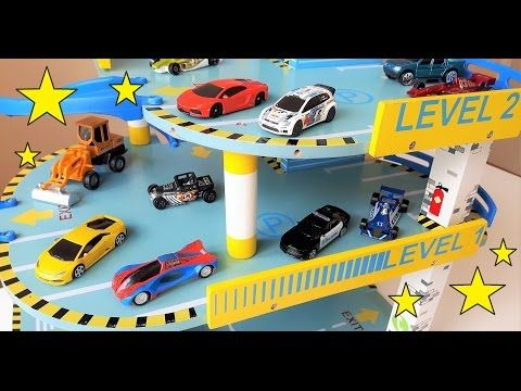 Toy car video for children. Toy cars showing off in a car park.