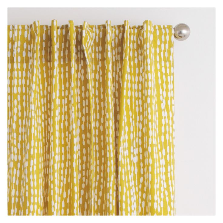 TRENE Pair of yellow patterned curtains 145 x 170cm