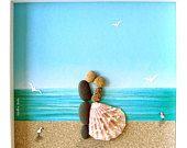 Boda regalo guijarro arte - playa tema boda - compromiso regalo - nupcial ducha regalo - parejas regalo - aniversario regalo - guijarro arte