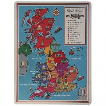 Wooden Retro Jigsaw Map of the UK