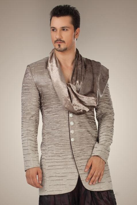 Grey Imported Fabric Readymade Indo Western Suit @ $336.60 | Shop Now @ http://www.utsavfashion.com/store/item.aspx?icode=mdh21