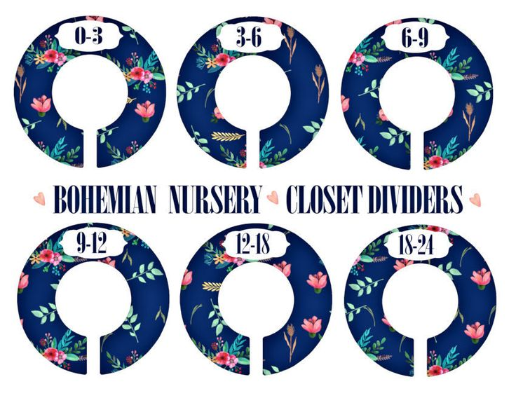 Bohemian Baby Nursery Closet Dividers, Navy Pink Mint Coral, Baby Clothes Dividers, Plastic Clothes Organizer, Floral Nursery Decor by LilysNurseryShop on Etsy
