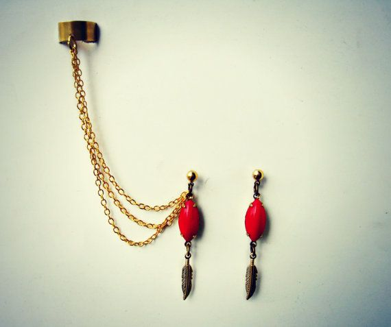 coral earrings and cuff