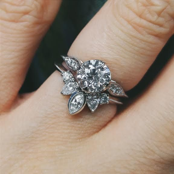 My custom engagement ring, and wedding band together! - Imgur