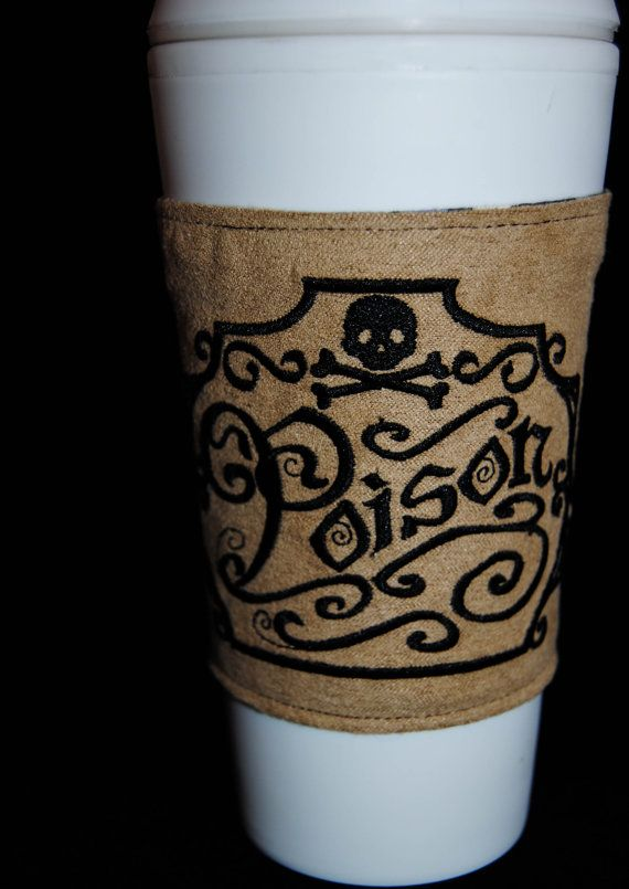 Victorian poison apothecary label embroidered coffee corset or water bottle cozy