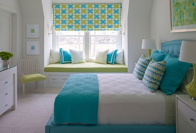 Turquoise and green bedroom. Turquoise and green bedroom. Turquoise and green bedroom decor, bedding, pillows, Roman…