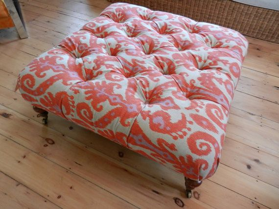 Reupholstered Vintage Ottoman with Brass Casters in Coral, Khaki and Violet Ikat