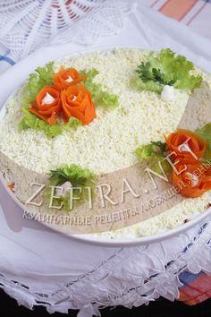 Слоеный салат из говядины и грибов - рецепт и фото