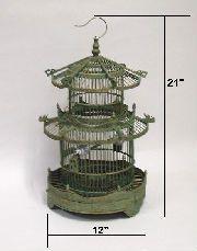 "Bamboo Bird Cage 13x18""H, #99LHA086G"