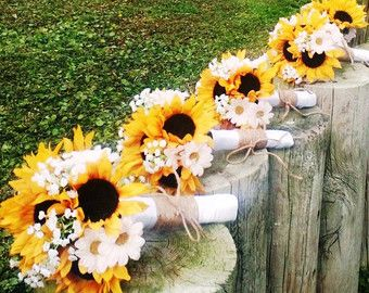 The 25 best sunflower bridal bouquets ideas on pinterest 17 piece sunflower wedding bouquet set daisy by silkflowersbyjean junglespirit Image collections