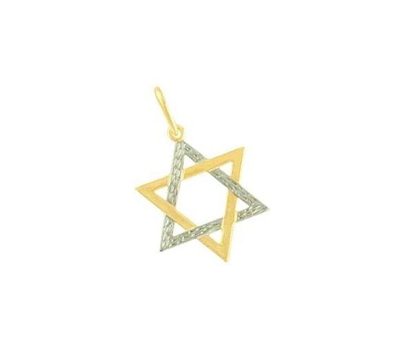 Lindo Pingente Estrela de Davi Folheado a Ouro e Prata  2,50 de diâmetro R$ 18,00