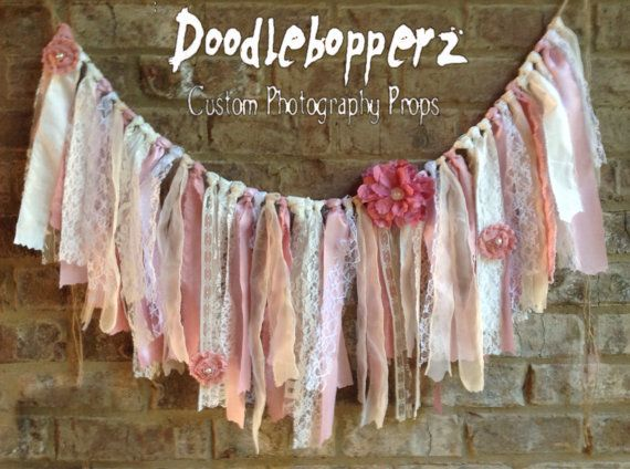 Shabby Chic Banner Fabric Garland Rag Banner by Doodlebopperz