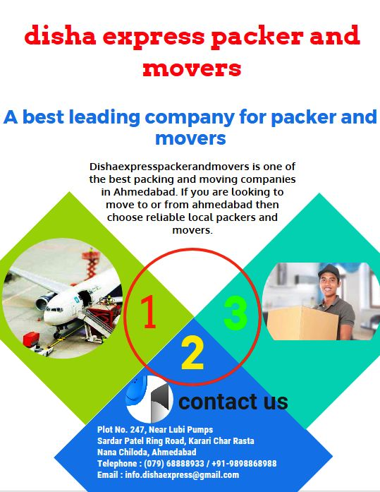 Dishaexpresspackerandmovers is one of the best packers and movers Ahmedabad. If you are looking to move to or from ahmedabad then choose reliable local packers and movers in Ahmedabad. We provide quality of service including household shifting, office shifting, loading and unloading service at affordable cost of price. We also provide corporate moving service, moving and storage service in Ahmedabad.