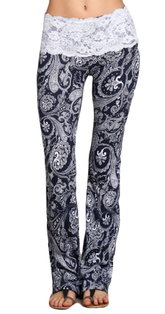 Are you spontaneous? Can't get much more spontaneous than a pair of Paisley print pants with a lace waistband. Anything becomes more elegant with lace! The lace waistband will give you that perfect style with no muffin top. Have a few short tops in your wardrobe?! The lace on these pants act as a built in shirt extender!
