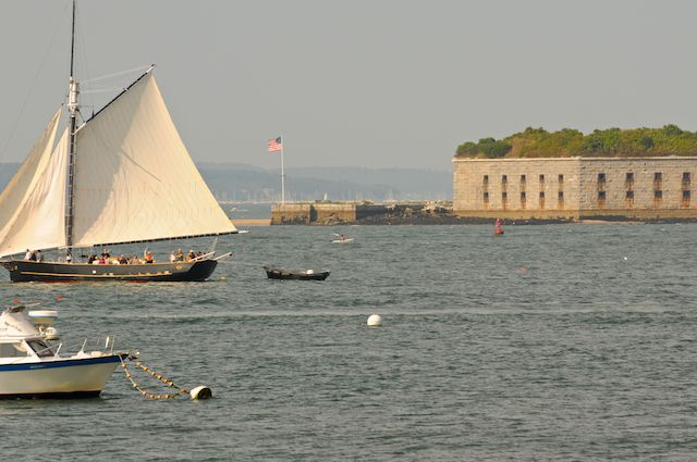 looking out from spring point at fort gorges so portland maine