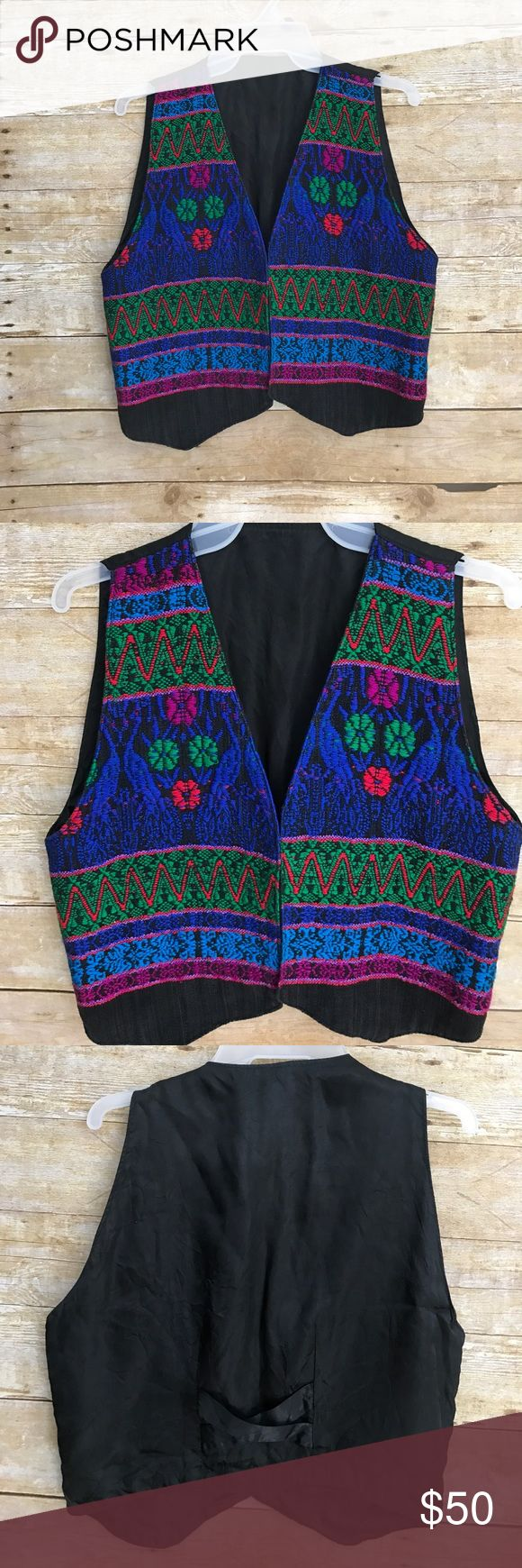 Ethnic Guatemalan 1990's Embroidered Boho Vest Excellent Condition - multi color vest - see photos for measurements 💜FAST SHIPPING💜 unknown Jackets & Coats Vests