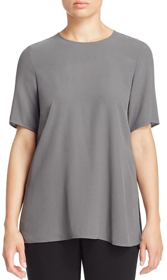Eileen Fisher Crewneck Silk Blouse