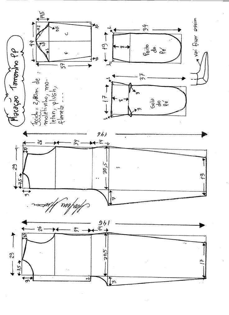 Esquema de modelagem de macacão pijama tamanho PP.