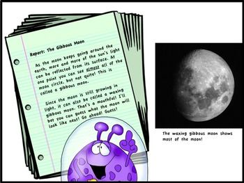 Make learning about phases of the moon fun and easy with these letters written by Zog, the alien, back to his people on Zipton. As Zog writes, he explains all about the phases of the moon. You see, Zipton doesn't have a moon, so this is all very new to Zog!  $