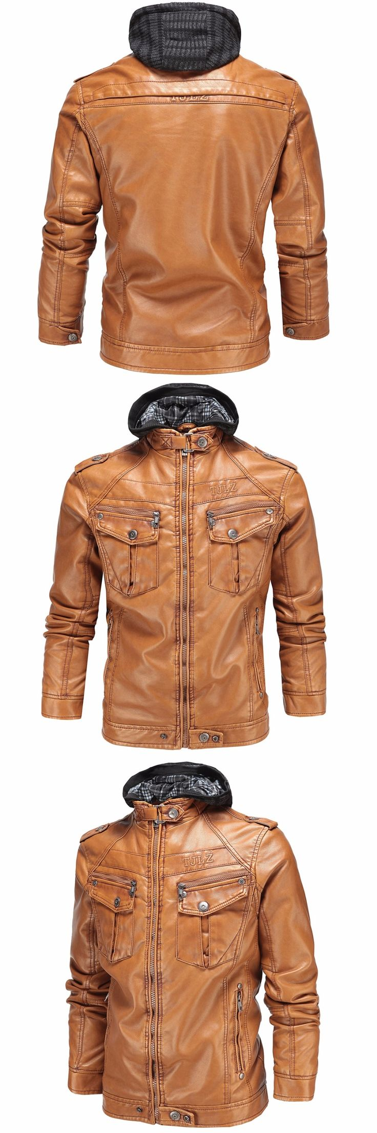 Men Winter Leather Jackets New Brand Plus Velvet Mens Casual Leather Jackets Warm Thick Coats with Hat Warm jaqueta couro