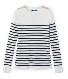 Pull marin femme en coton rayé blanc Lait / bleu Smoking - Petit Bateau