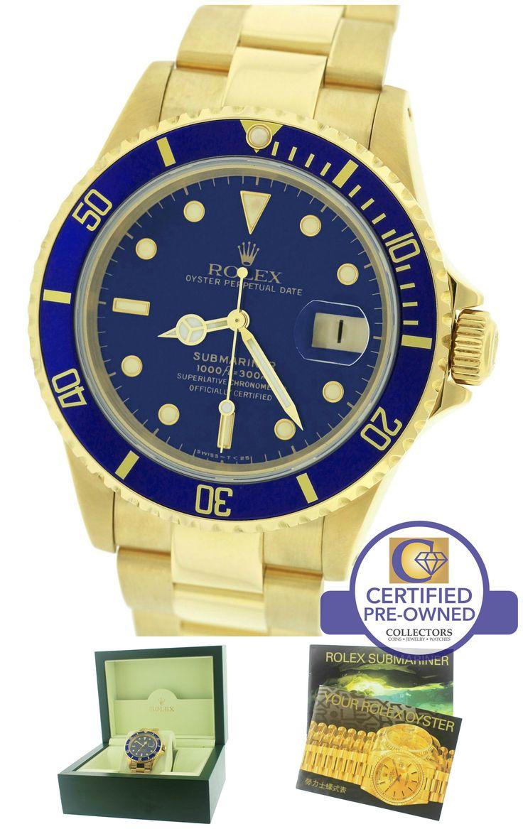 Men's Rolex Submariner Date 16618 18K Yellow Gold Blue 40mm Dive Watch 16808