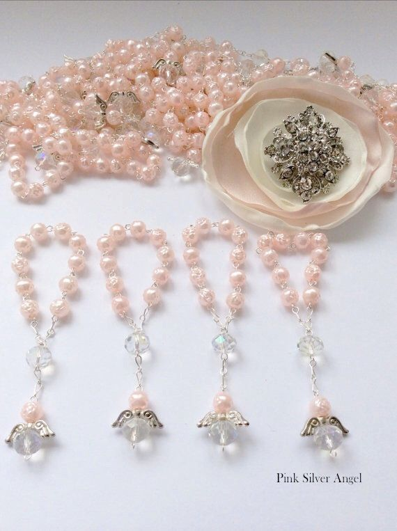 40 pcs Angel Pink Pearl First communion favors Recuerditos Bautizo 40pz/ Mini Pearl Rosary Baptism Favors by AVAandCOMPANY on Etsy https://www.etsy.com/listing/181009499/40-pcs-angel-pink-pearl-first-communion