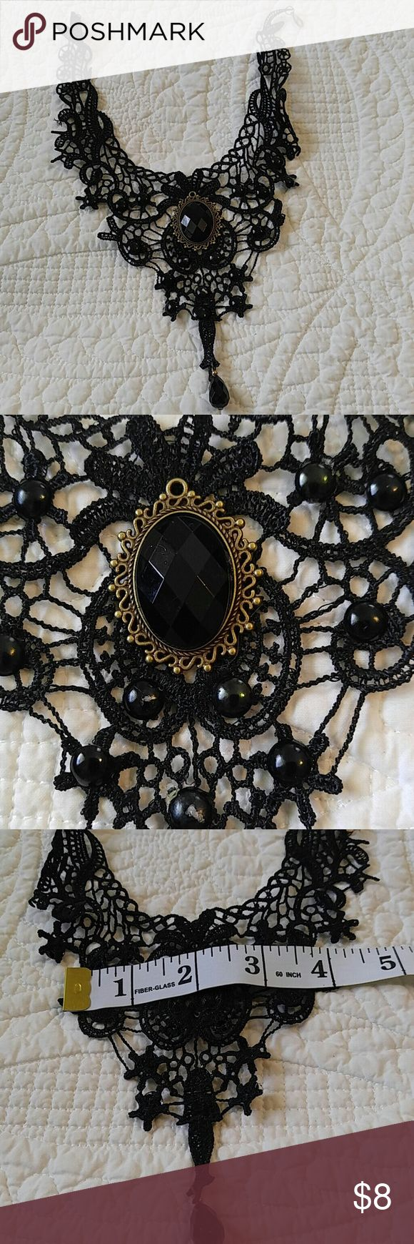 NEW Goth romantic black crochet lace choker prom Delicate Romatic vintage inspired.  NEW never worn.  Lace.  Bead embellishments Jewelry Necklaces