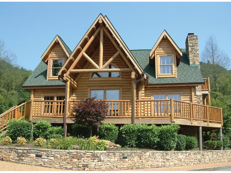 Grand Log Home With Broad Deck And Open Design. Beautiful!   Plan 073D  Part 96