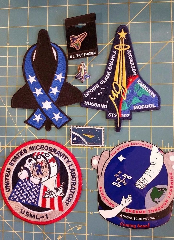 NASA SPACE SHUTTLE COLLECTIBLES PATCHES STICKER PINS STS 107, ETC.