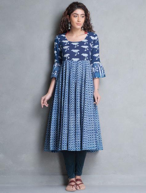 Buy Indigo Bagru Printed Kalidar Cotton Kurta Cottonn Apparel Tunics & Kurtas Banjara Collection Inspired by Tribes Online at Jaypore.com