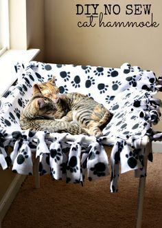 DIY No Sew Cat Hammock Tutorial #IAMSCat #ad