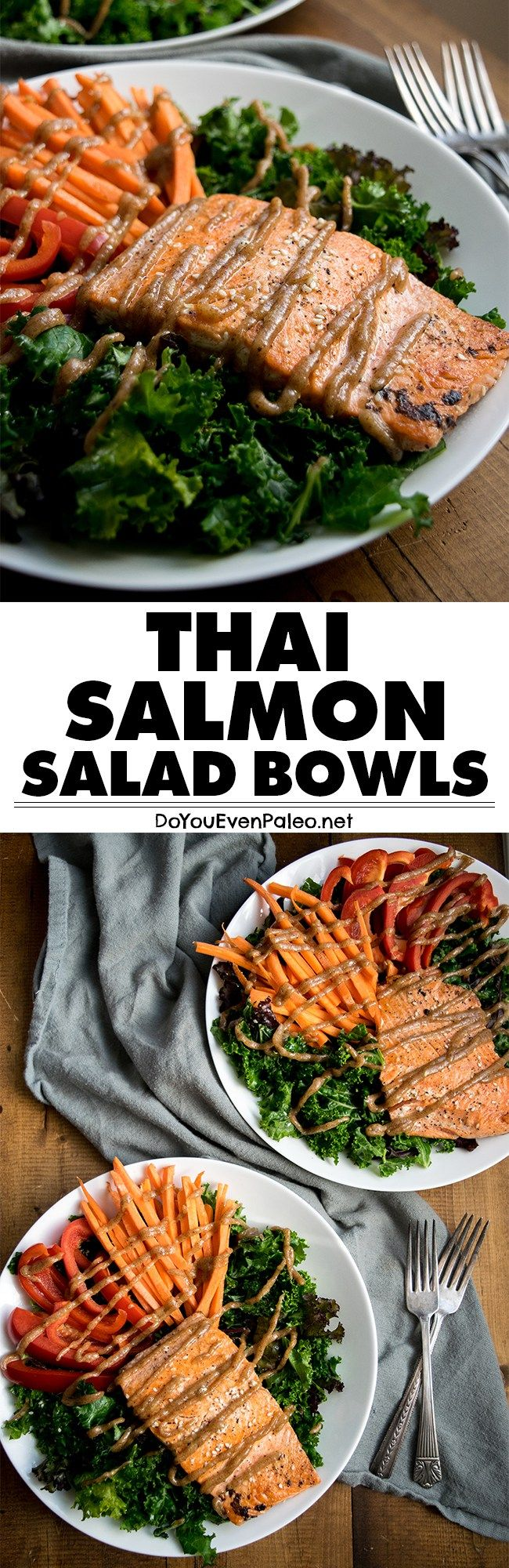 Thai Salmon Salad Bowls - a quick, easy, customizable weeknight meal or hearty lunch. Gluten free, paleo, and Whole30! | DoYouEvenPaleo.net