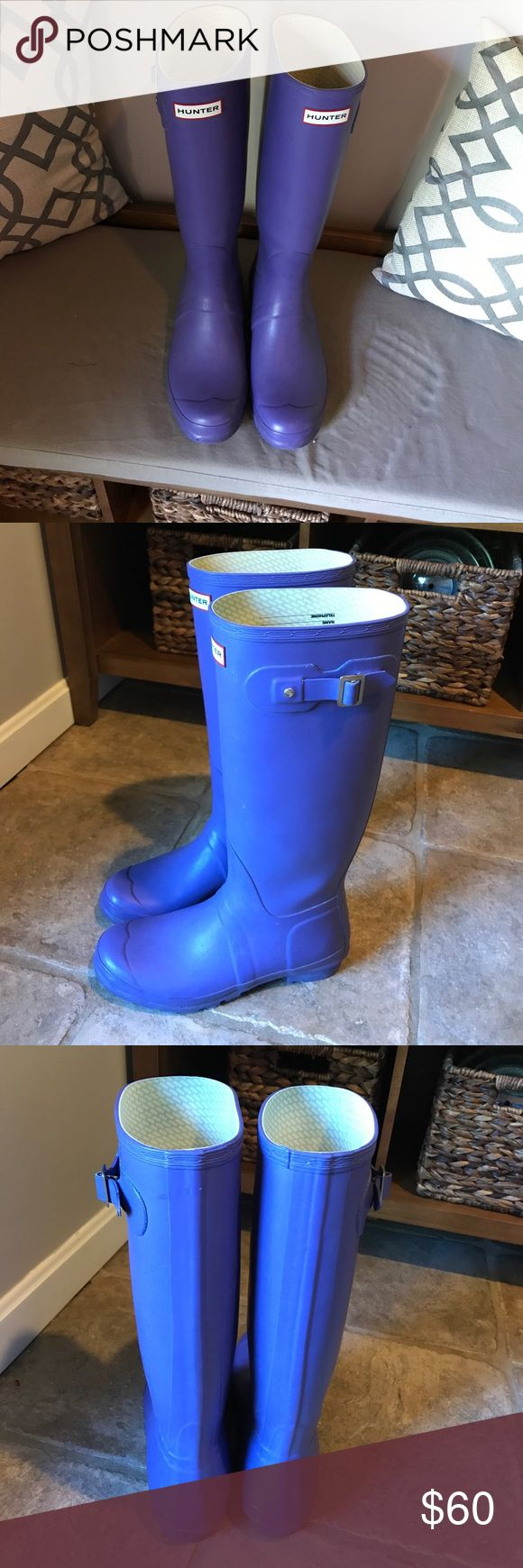 Size 10 tall Hunter rain boots in purple lilac Gently worn. In great condition Hunter Boots Shoes Winter & Rain Boots