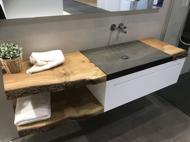 Waschtisch Aus Granit Auf Mass Abdeckung Aus Echtholz Asthetisches