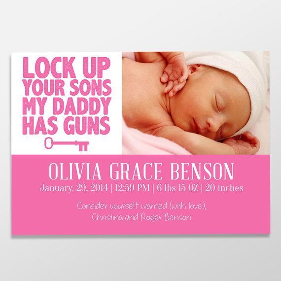 Lock up Your Sons, My Daddy Has Guns / Funny Birth Announcement / Custom Digital Baby Announcements by BlanchardBits #baby #funny #humor