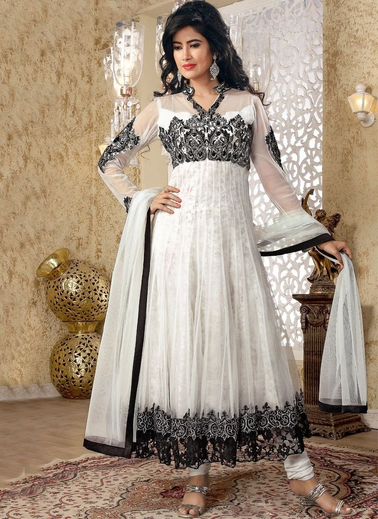 Aesthetic Black And Off White Anarkali Suit
