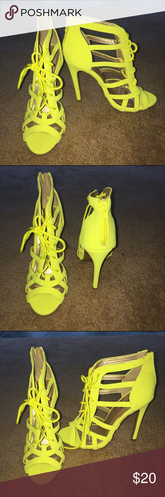 Neon yellow Heels Neon yellow strappy heels. Can be adjusted to your foot ****Never worn***** Shoes Heels