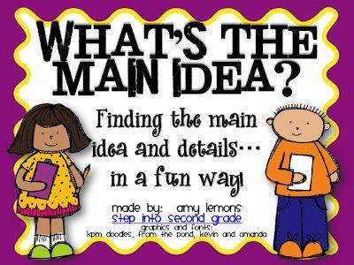 Main Idea.. Mrs. Lemons' blog is GREATSchools Stuff, Teaching Ideas, Maine Ideas Details, Languages Art, Ideas United, Random Pin, Classroom Ideas, Amazing Purchase, 2Nd Grade