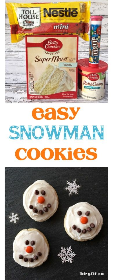 Easy Snowman Cookies Recipe!  Just a few easy ingredients and a Cake Mix Cookie base, and you've got some delicious little snowmen... perfect for your Christmas Cookie Exchange or Winter Parties! | TheFrugalGirls.com
